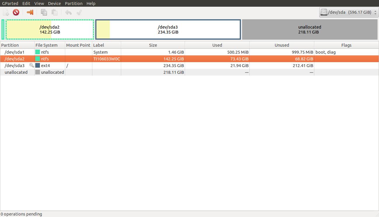 GParted - Ubuntu 13.04